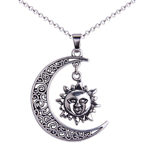 iWenSheng Fashion Silver tone Crescent Necklace