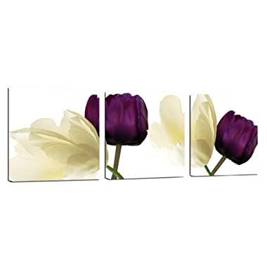 Canvas Wall Art 3 Panels Purple Yellow Flowers Floral Canvas Print Picture for Kitchen Living Room Home Decorations Framed Ready to Hang