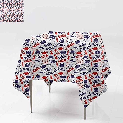 AndyTours Washable Square Tablecloth,London,United Kingdom Country Themed Symbols Pattern in National Flag Colors,Party Decorations Table Cover Cloth,54x54 Inch Royal Blue Red -