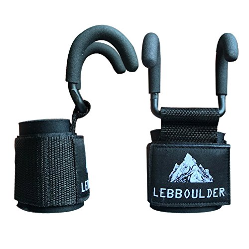 LEBBOULDER Weight Lifting Rod Hooks Heavy Duty Neoprene Padded Wrist Wraps Power Weight Lifting Training Gym Grips Straps Bandage Set of 2 (Black) ()
