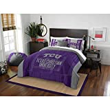 3 Piece NCAA Horned Frogs Comforter Full Queen Set, Purple Grey Multi Sports Patterned, College Football Themed Bedding, Team Logo Fan Merchandise Athletic Team Spirit Fan, Polyester, For Unisex
