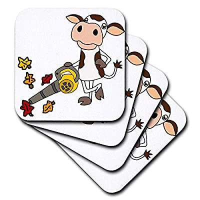 3dRose All Smiles Art - Funny - Cute Funny Unique Cow using Leaf Blower Cartoon - Coasters