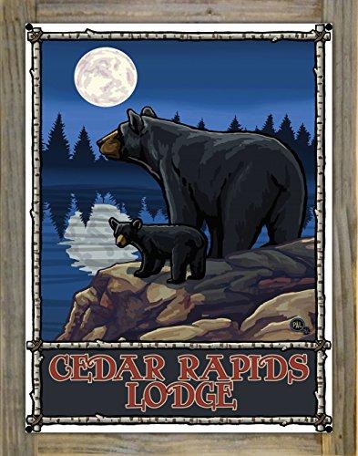 Northwest Art Mall Cedar Rapids Lodge Minnesota Bear Lake Moon Forest Metal Print on Reclaimed Barn Wood by Paul A. Lanquist (18