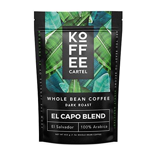 Whole Bean Coffee Dark Roast - Gourmet Single Origin - 100% Arabica Strong Espresso Coffee - El Capo 1lb Bag -