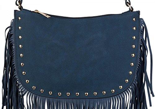 E 02012109 A Tracolla Scuro D'oro Rivetti Spalla Blu Gioielli Borsa Colore Signora Nero Stylebreaker Frange wxSpIqpv