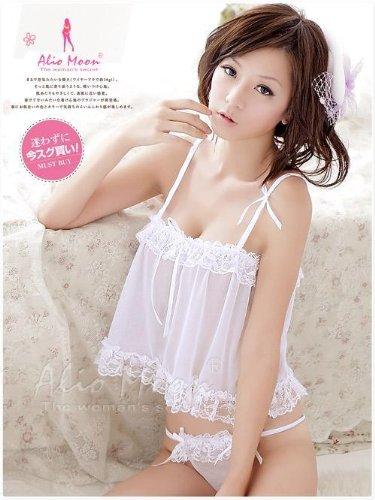 【新作】白色の可愛いベビードール&Tバック/ランジェリー 8841