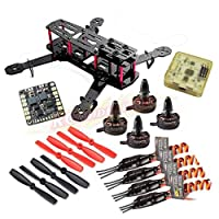 Hobbypower Carbon 250mm Mini Quadcopter Frame with X2204S 2300KV Motor + BLHeli 12A ESC and CC3D Flight Controller + 5045 Props for H250 Quad QAV250 Drone