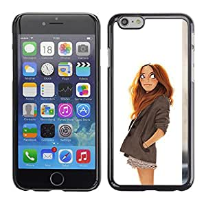 Planetar® ( Girl Drawing White Redhead Kids Smart ) Apple iPhone 6 Plus(5.5 inches)Fundas Cover Cubre Hard Case Cover