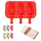 Silicone ICE Popsicle Molds,DiDaDi 3 Cavities Cute ICE CAREM Mould,DIY ICE CREAM Maker,Silicone Jelly Chocolate Candy Soap Molds with 20 Wooden Sticks - Bunny