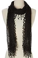 Women's lightweight Feminine lace teardrop fringe Lace Scarf Vintage Scarf Mesh Crochet Tassel Cotton Scarf for Women