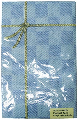 Wedgewood Blue Vinyl - Waterproof Spill Proof Check Plaid Vinyl Round Tablecloth with Flannel back, 60