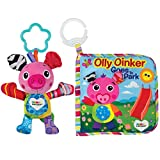LAMAZE - Olly Oinker Gift Set, Baby's Cute Companion with Chewable Ribbons, Bright Colors, and a Textured Teether, Clips to Carriers, Strollers, and Diaper Bags, 6 Months and Older
