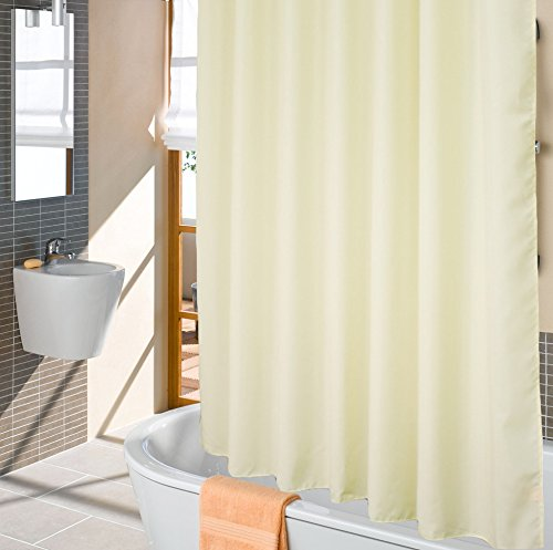 Ufriday Eco-Friendly Shower Curtain Poly Fabric Water Repellent with Reinforced Top Holes, Everyday Shower Curtain Liner Mildew-Free,Use Standalone, Classic Beige Color in X Long Size, 72 by 78 inches (Weighted Hem Shower Liner compare prices)