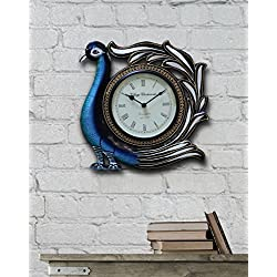 Store Indya,Handcraft Wall Clock Wooden Decorative Large Vintage Style For Living Room Rustic Round Roman Numeral (Blue)