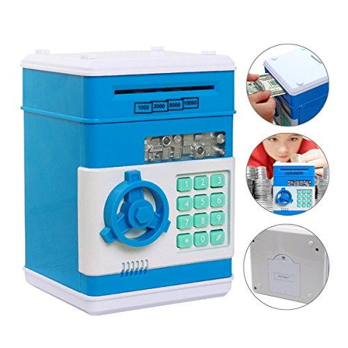 Stylebeauty Electronic Password Piggy Bank Cash Coin Can Money Locker Auto Insert Bills Safe Box Password ATM Bank Saver Birthday Gifts for Kids Blue