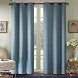 Comfort Spaces Grasscloth Window Curtain Pair/Set of 2 Panels - Teal - 40x63 inch panel - Foamback - Energy Efficient Saving - Grommet Top - 2 Pieces