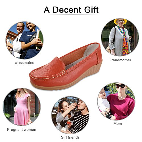 Leather Slippers Casual Driving Slip On Labato Shoes Flat Orange Loafers Women's axYfS