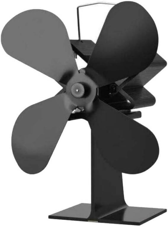 AOHMG 4 Cuchillas accionadas por Calor Ventilador Estufa Quema de Madera Ventilador para Estufa, para Quemador de leña/Volumen de Aire Fuerte de la Chimenea,Black