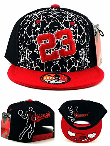 GREATEST PRODUCTS Chicago New Greatest 23 MJ Cracked Jordan Bulls Black White Red Cement Era Snapback Hat Cap by GREATEST PRODUCTS