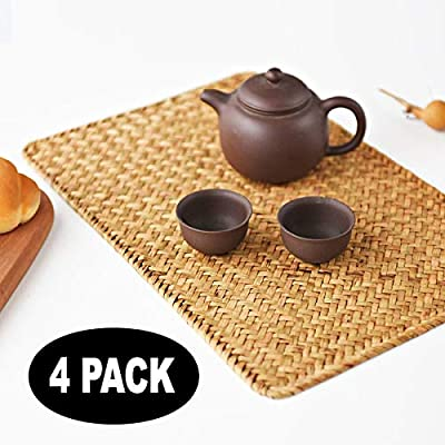 "Pack of 4, Natural Seagrass Place Mat, 17"" x 12"", Hand-Woven Rectangular Rattan Placemats - ★ Placemats size: 430mm x300mm (17"" x12"") ★ Material: Seagrass , Sturdy Wire Around. ★ Make your dinner table different, fresh and natural. - placemats, kitchen-dining-room-table-linens, kitchen-dining-room - 51p2ZXVi5ZL. SS400  -"