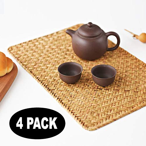 YANGQIHOME Pack of 4, Natural Seagrass Place Mat, 17