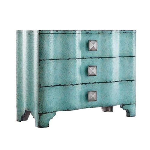 Crackle Chest - Beaumont Lane Turquoise Crackle Accent Chest in Turquoise