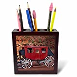 "Navajo Nation, Monument Valley, stage coach at Gouldings Trading Post Tile Pen Holder is great on a desk or counter top. Made of high quality solid wood with a satin finish. Image displayed on one inset high gloss 4.25"" x 4.25"" ceramic tile. ..."
