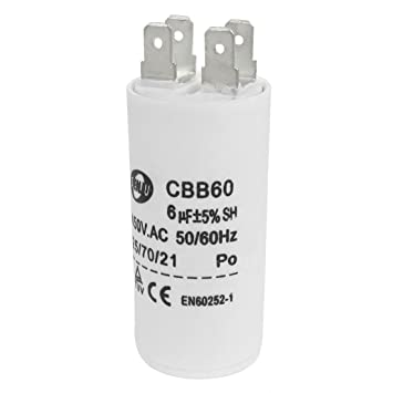 sourcing map CBB60 6 uf 450VAC AC Run de Condensador de Motor para ...