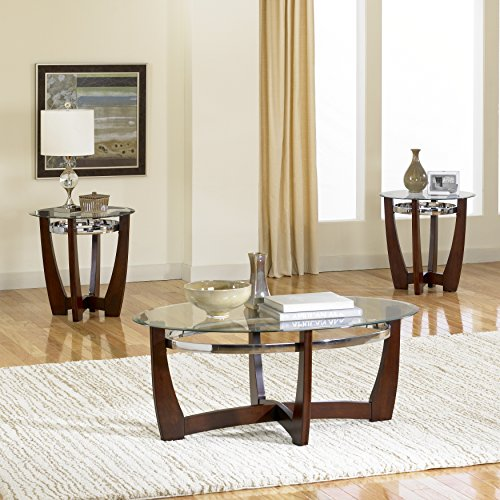 Standard Furniture Apollo 3-Pack Accent Tables, Cherry Brown