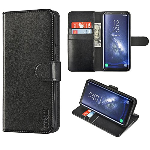 (TECOOL Samsung Galaxy S8 Plus Wallet Case PU Leather Flip Cover with Cash/Card Slots,Money Pocket,Kickstand Function and Magnetic Clasp Protective Case for Galaxy S8 Plus-Black)