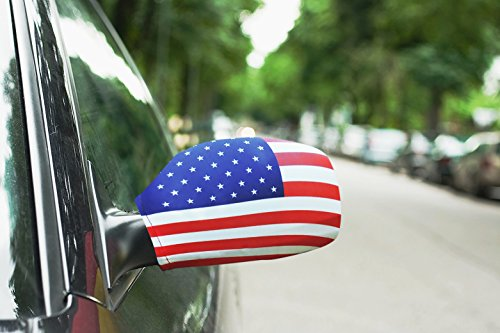 Red Car Flag - American Flags for car side Mirrors with Stretchable material made by Spandex and polyester Show your love and proud to your country Set of 2 flags.(USA)