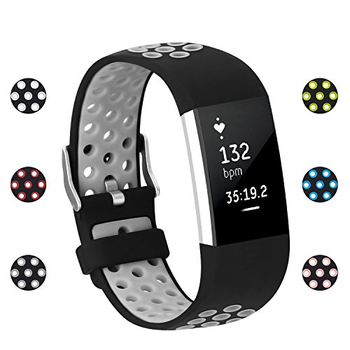 POY Replacement Bands Compatible for Fitbit Charge 2, Adjustable Breathable Wristbands with Air Holes Straps, Large Gray (Best Selling Metal Bands)