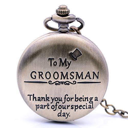to My Groomsman Vintage Bronze Quartz Pocket Watch for Wedding Gift, Mens Watch Womens Pocket Watch with Chain + Box