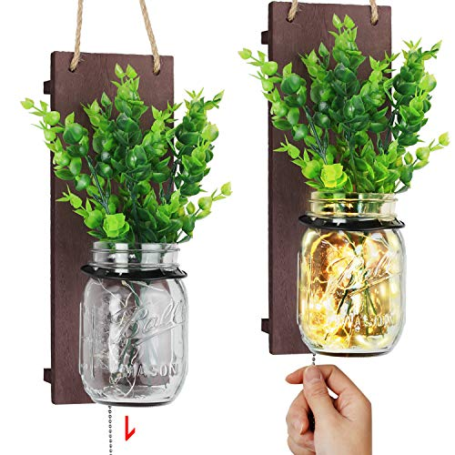 TJ.MOREE Farmhouse Mason Jar Sconces for Wall Decor, Home Decor with Pull Chain Switch, Eucalyptus Leaves and LED Strip…