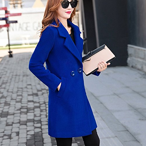 Slim Overcoat with Parka Long Like Fit Pockets Casual Sleeve MIRRAY Solid Cardigan Warm Long Oversize Coats Winter Outwear Cashmere Outerwear Collar Thicken Autumn Down Womens Blue Ladies Turn 41vCSq