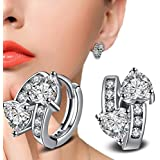 925 Silver Plated Rhinestone Clear Crystal Double Heart Ear Hoop Clip Earring