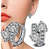 925 Silver Plated Rhinestone Clear Crystal Double Heart Ear Hoop Clip Earring
