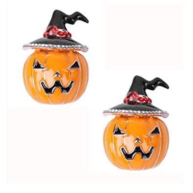 Amazon.com: EOPER 2 Pieces Vintage Enamel Witch Hat Pumpkin Brooch ...