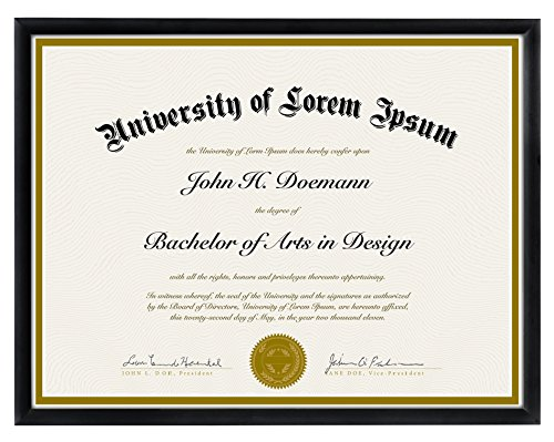 Document Frame - Made to Display Certificates 8.5 X 11-inch, Black - Document Frames, Certificate Frames, Diploma Frames, High School Diploma Frame