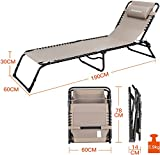 KingCamp 3 Positions Camping Cot Patio Foldable Chaise Lounge Chair Bed