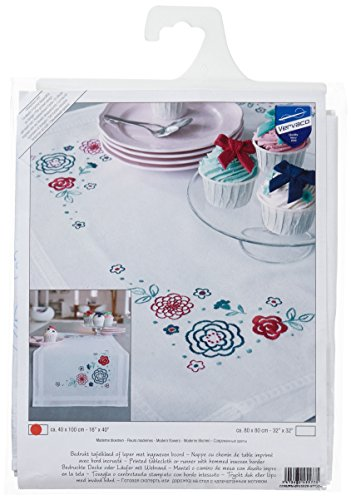 Vervaco Modern Flowers Table Runner Stamped Embroidery Kit-16