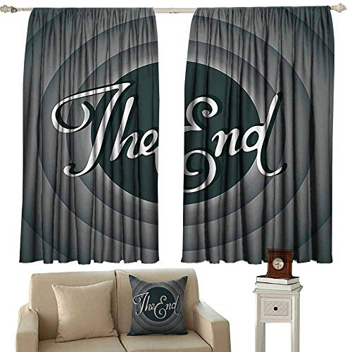 Decor Curtains,1950s Decor Collection Vintage Movie Ending Screen Camera Hollywood Industry Historic Entertainment Film Television Image,Insulated with Curtains for Bedroom,W72x72L Inches,Grey