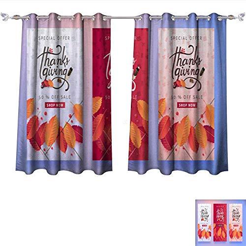 Room Darkening Wide Curtains Thanksgiving 09 Thermal Insulated Room Darkening Window W84 x ()