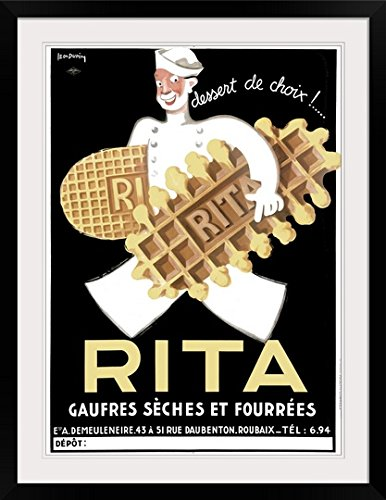 GreatBIGCanvas Rita, Belguim Waffle Biscuit, Vintage Poster Photographic Print with Black Frame