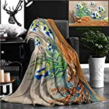 """Nalagoo Unique Custom Flannel Blankets Low Relief Cement Thai Style Handcraft Of Fish Super Soft Blanketry for Bed Couch, Throw Blanket 60"""" x 40"""""""
