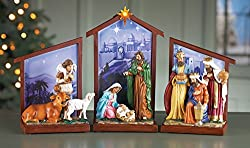Collections Etc Lighted Nativity Tabletop
