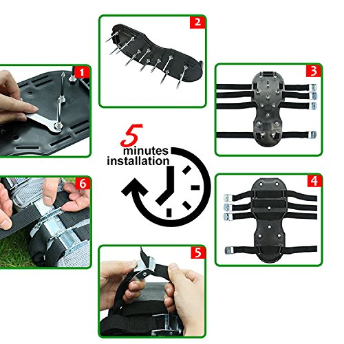 Blissun Lawn Aerator Shoes, 4 Aluminum Alloy Buckles Spiked Aerating Lawn Sandals, 26 Nails for Aerating Your Lawn or Yard, 4 Adjustable Straps Universal Size by Blissun (Image #2)