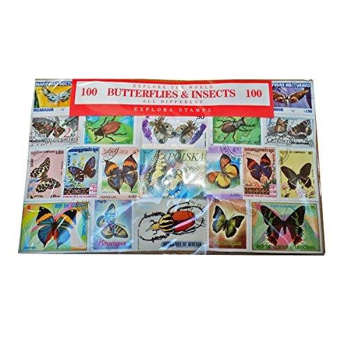 Papillons et Insectes Collection de 100 Timbres - du Monde Entier / Tous Différents / Souvenir Entomologique Explora 100-BI