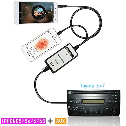 Moonet Connect IPhone 5 6 6PLUS MP3 3.5mm Interface Adapter AUX In Input For 1998-2002 4-Runner RAV4 Camry Corolla Highlander Tacoma Yaris (Aux Input Cd Changer)