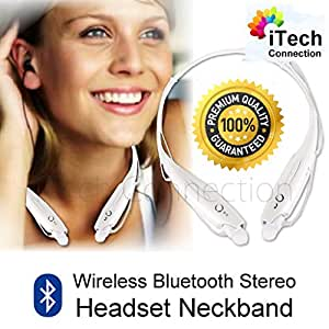 iTechConnection Wireless Bluetooth Sport Stereo Headset Earbuds for iPhone 6 Plus 5S 5C 5 4S 4 / HTC M8 / Samsung Note 4 Note 3 S5 S4 / LG G3 G2 or any devices with Bluetooth Function (WHITE)